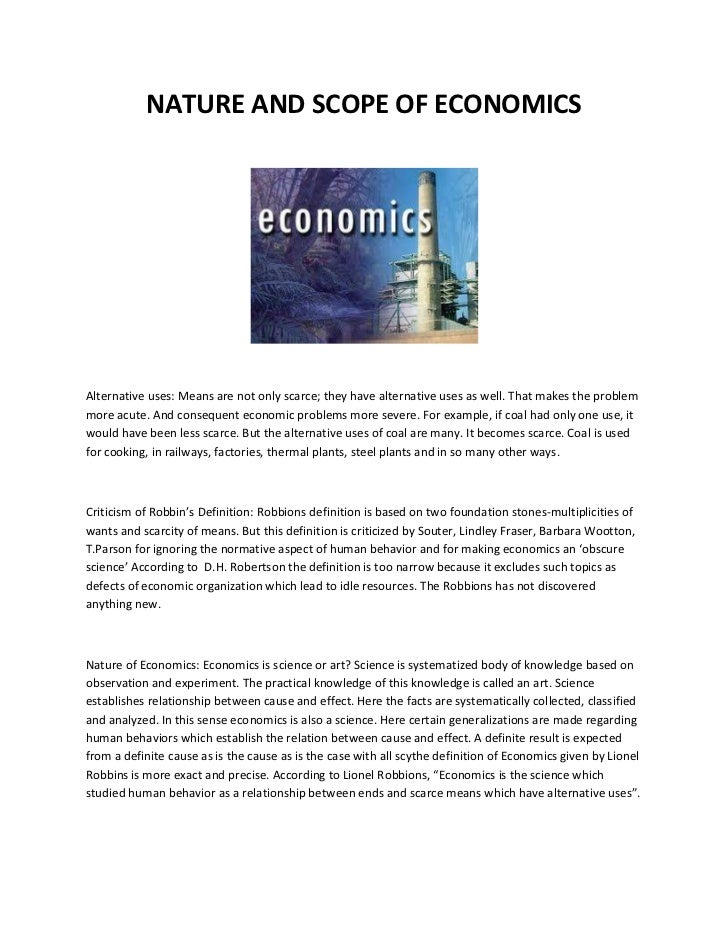 nature and scope of economics