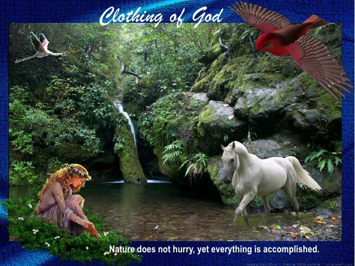Clothing of God<br />Nature does not hurry, yet everything is accomplished.<br />