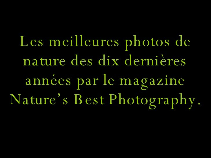Les meilleures photos de nature des dix dernières années par le magazine Nature's Best Photography.