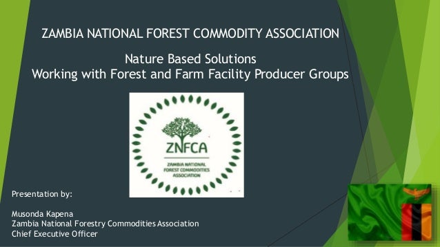 ZAMBIA NATIONAL FOREST COMMODITY ASSOCIATION Nature Based Solutions Working with Forest and Farm Facility Producer Groups ...