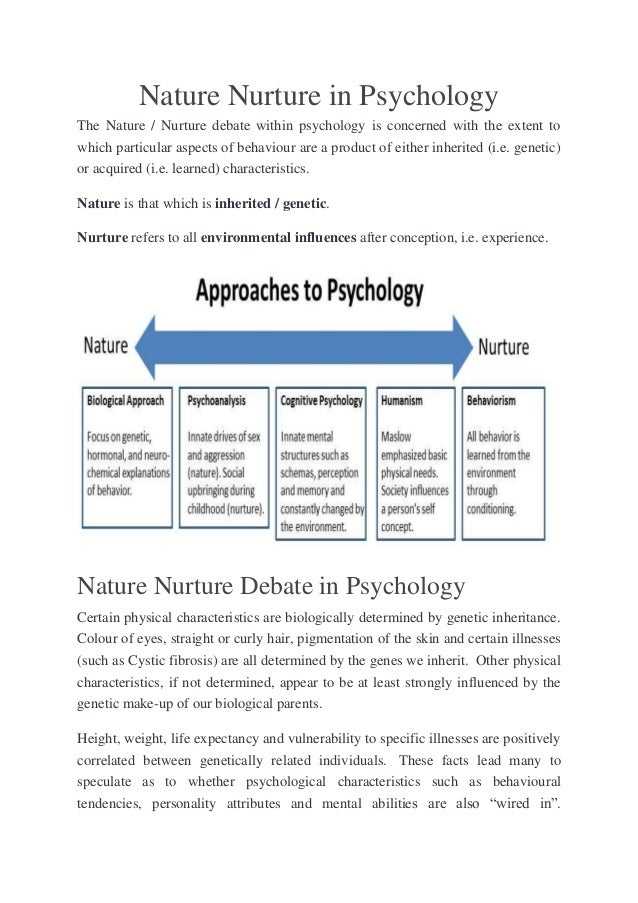 nature vs nurture 10 essay Examine the effect of nature and nurture on personality development natural  selection had an important role in developing personalities that.