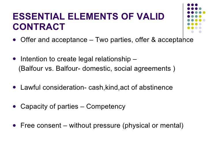 ESSENTIAL ELEMENTS OF VALID CONTRACT ...