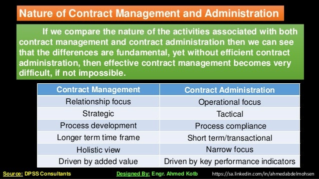 If we compare the nature of the activities associated with both contract management and contract administration then we ca...