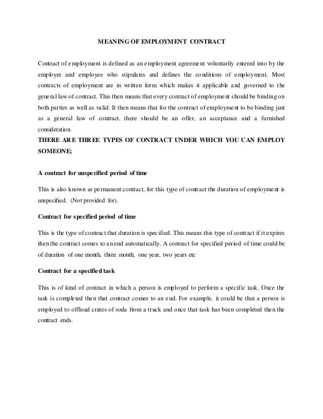 MEANING OF EMPLOYMENT CONTRACT Contract Of Employment Is Defined As An  Employment Agreement Voluntarily Entered Into ...