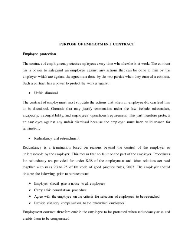 7. PURPOSE OF EMPLOYMENT CONTRACT ...