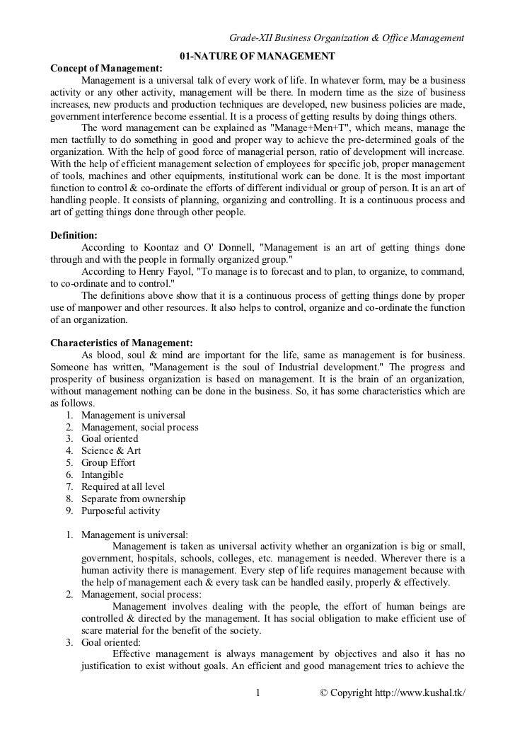 Grade-XII Business Organization & Office Management                                01-NATURE OF MANAGEMENTConcept of Manag...