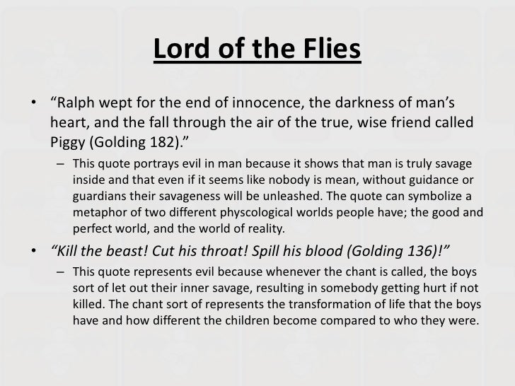 "lord of the flies darkness of mans heart To ""explore the darkness of man's heart"" is one of the key themes in william golding's novel lord of the flies as the boys on the island regress from."