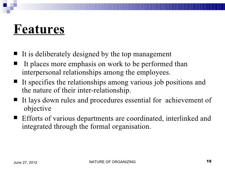 features of formal organisation