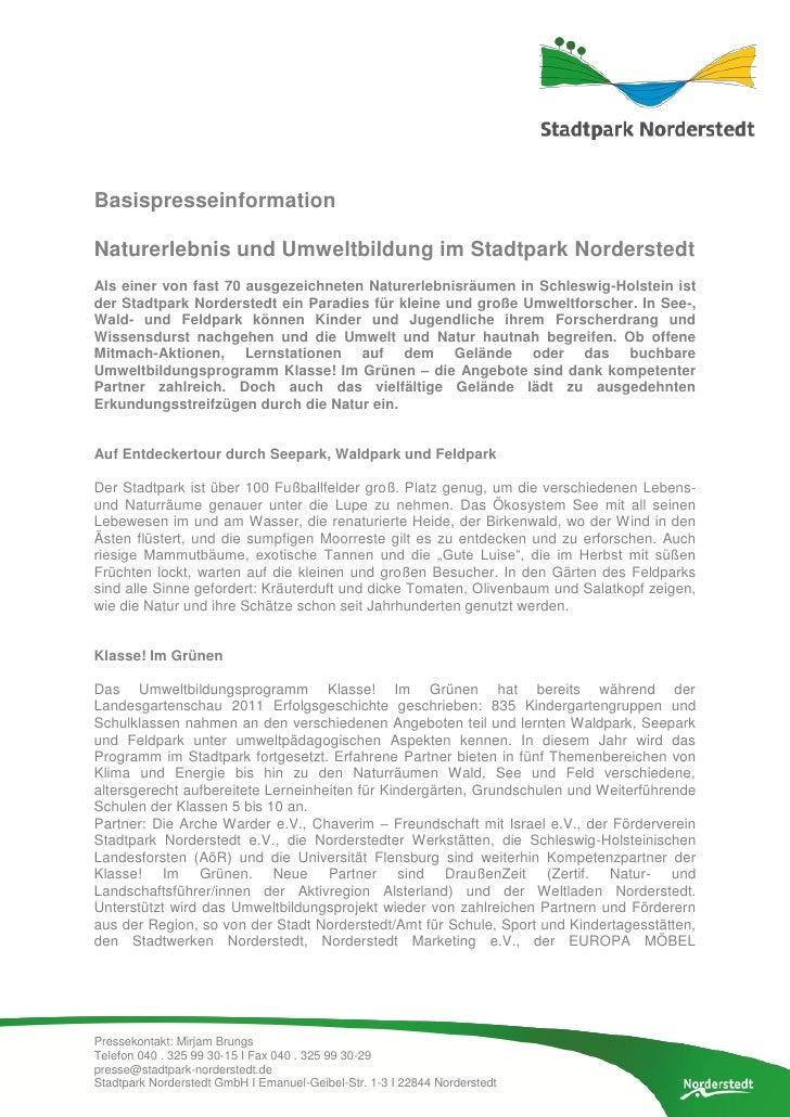 BasispresseinformationNaturerlebnis und Umweltbildung im Stadtpark NorderstedtAls einer von fast 70 ausgezeichneten Nature...
