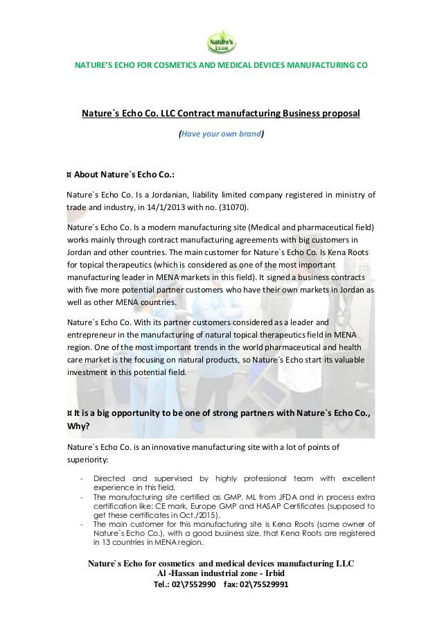 Natures Echo Brand Contract Manufacturing Proposal