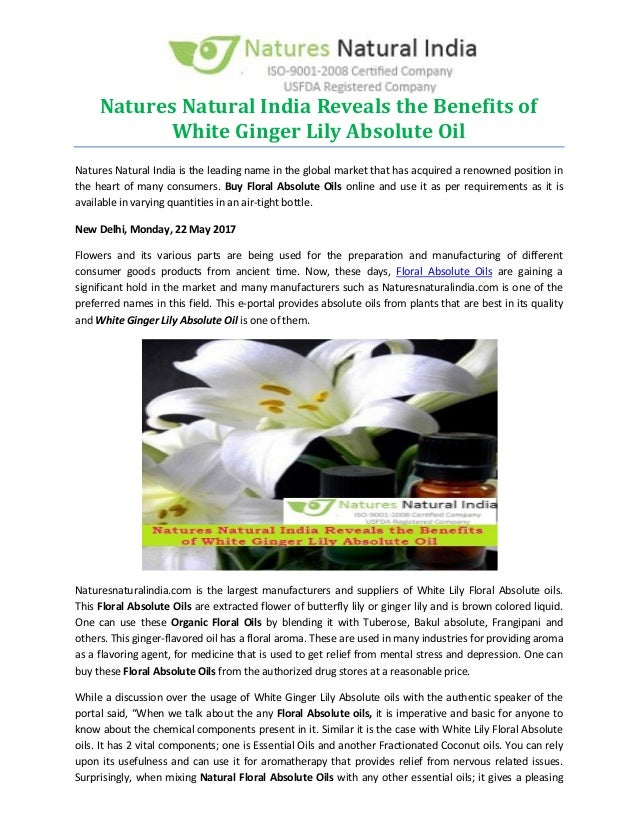 Natures natural india reveals the benefits of white ginger lily absol natures natural india reveals the benefits of white ginger lily absolute oil natures natural india is mightylinksfo
