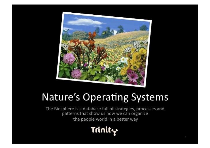 Nature'sOpera,ngSystems TheBiosphereisadatabasefullofstrategies,processesand         pa=ernsthatshowushow...