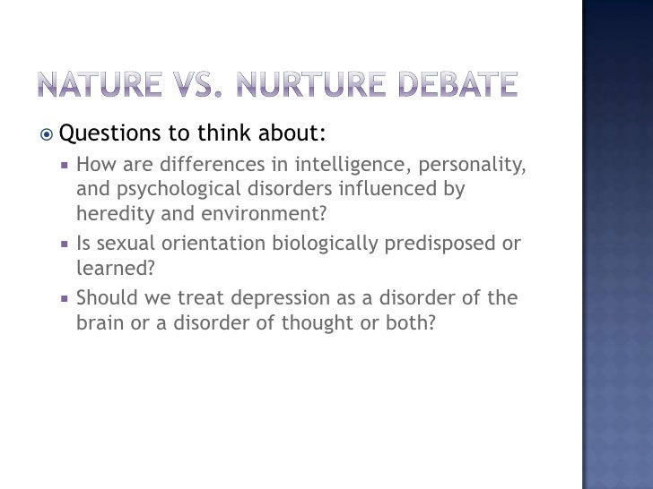 term paper on nature vs nurture Nature vs - nature vs nurture introduction nurture nurture the nature versus nurture debate is a heated debate concerning the relative importance of an individual's innate qualities vs their personal experiences.