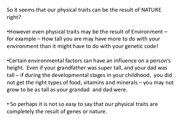 What is the difference between nature and nurture?