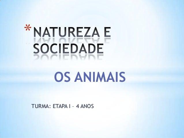 TURMA: ETAPA I – 4 ANOS * OS ANIMAIS