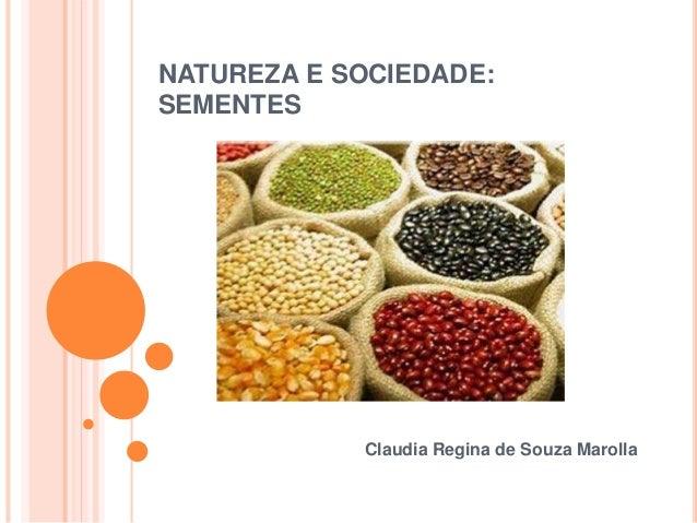 NATUREZA E SOCIEDADE:  SEMENTES  Claudia Regina de Souza Marolla