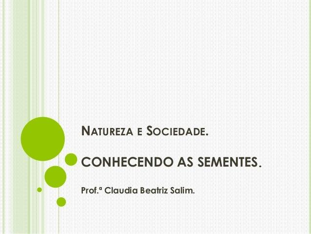 NATUREZA E SOCIEDADE.  CONHECENDO AS SEMENTES.  Prof.ª Claudia Beatriz Salim.