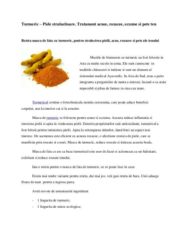Turmeric – Piele stralucitoare. Tratament acnee, rozacee, eczeme si pete ten  Reteta masca de fata cu turmeric, pentru str...