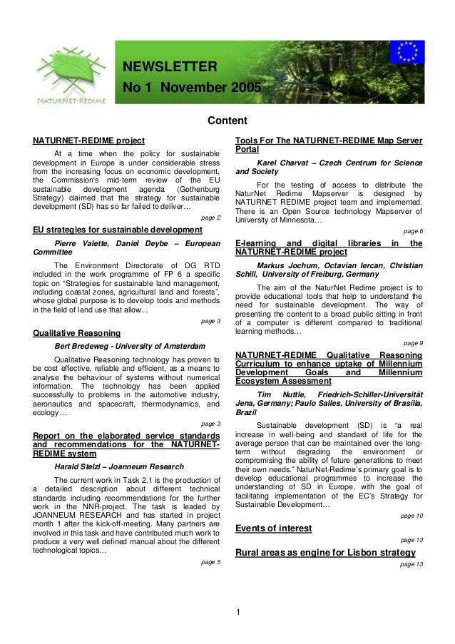 NEWSLETTER                          No 1 November 2005                                                    ContentNATURNET-...