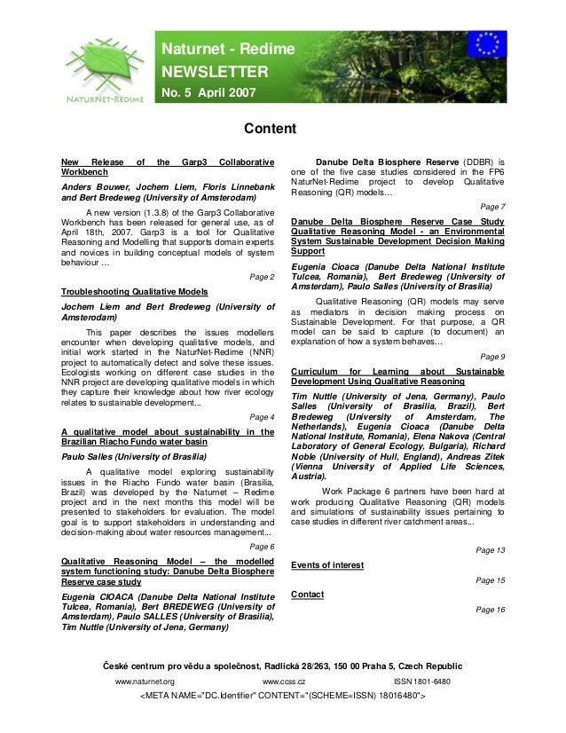 Naturnet - Redime                         NEWSLETTER                         No. 5 April 2007                             ...