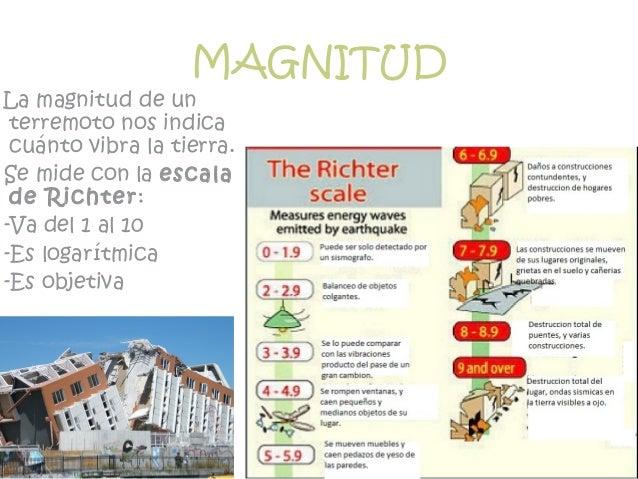 MAGNITUD La magnitud de un terremoto nos indica cuánto vibra la tierra. Se mide con la escala de Richter: -Va del 1 al 10 ...