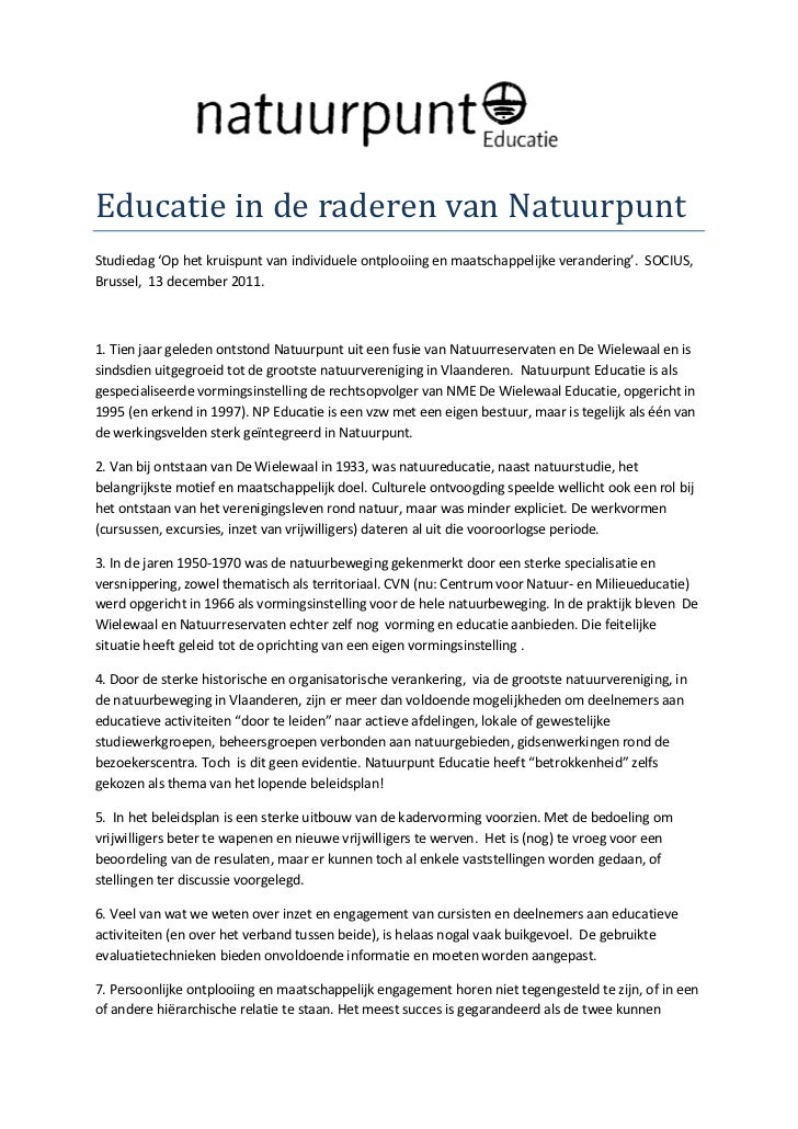 Educatie in de raderen van NatuurpuntStudiedag 'Op het kruispunt van individuele ontplooiing en maatschappelijke veranderi...