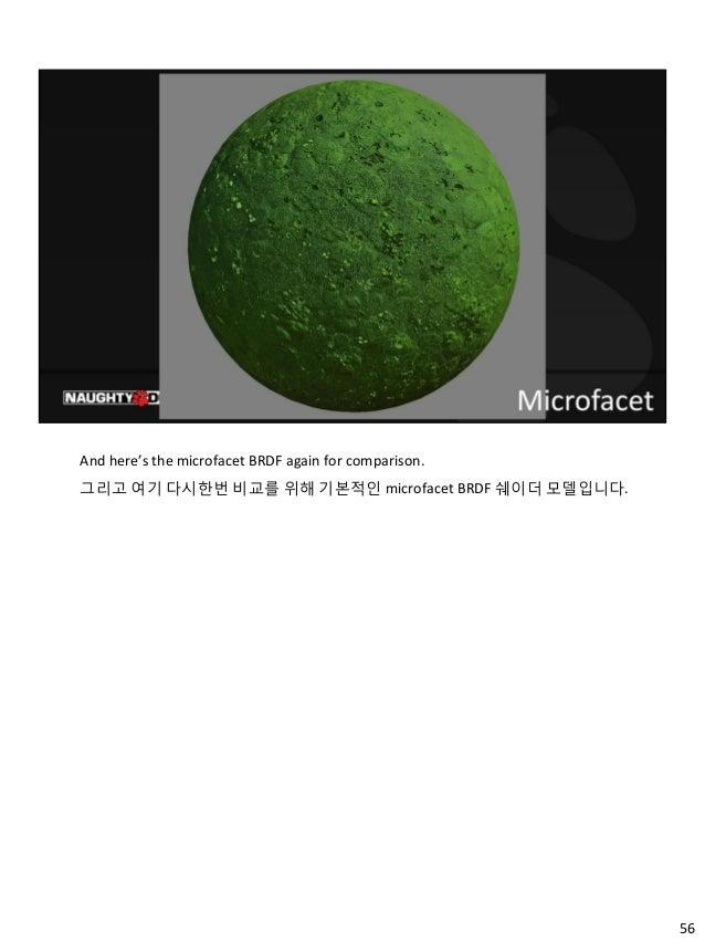 56 And here's the microfacet BRDF again for comparison. 그리고 여기 다시한번 비교를 위해 기본적인 microfacet BRDF 쉐이더 모델입니다.