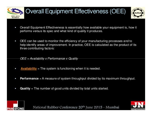 Overall Equipment Effectiveness (OEE) Overall Equipment Effectiveness is essentially how available your equipment is, how ...
