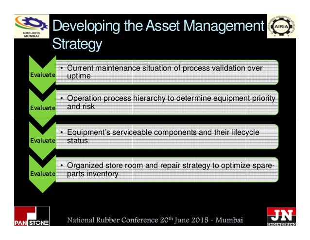 Developing theAsset Management Strategy Evaluate • Operation process hierarchy to determine equipment priority and riskEva...
