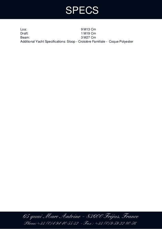 HUNTER MARINE HUNTER 31, 2006, 64 900 € For Sale Brochure  Presented …