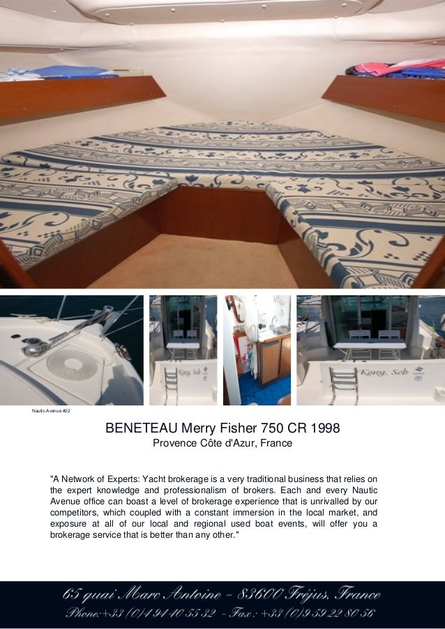 BENETEAU Merry Fisher 750 CR, 1998, 44.900 € For Sale Brochure. Prese…