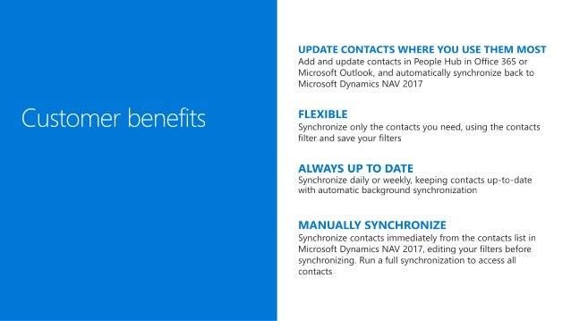 Microsoft Dynamics NAV 2017 - Contact synchronization Slide 3