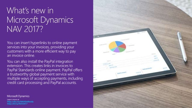 Microsoft Dynamics NAV 2017 - Payment services and PayPal standards payment link Slide 2