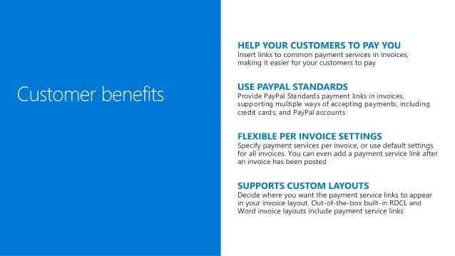Microsoft Dynamics NAV 2017 - Payment services and PayPal standards payment link Slide 3