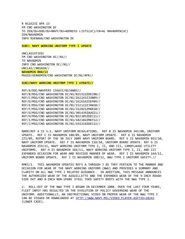 R 011623Z APR 13FM CNO WASHINGTON DCTO ZEN/OU=DOD/OU=NAVY/OU=ADDRESS LISTS(UC)/CN=AL NAVADMIN(UC)ZEN/NAVADMININFO RUENAAA/...