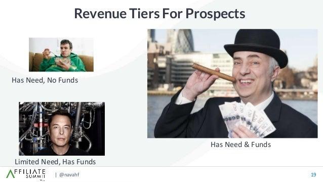 | @navahf 19 Revenue Tiers For Prospects Has Need, No Funds Limited Need, Has Funds Has Need & Funds