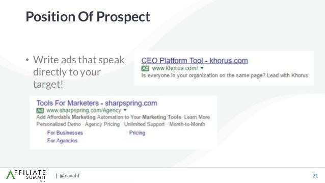 | @navahf 21 • Write ads that speak directly to your target! Position Of Prospect