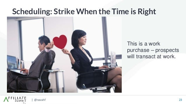 | @navahf 23 Scheduling: Strike When the Time is Right This is a work purchase – prospects will transact at work.