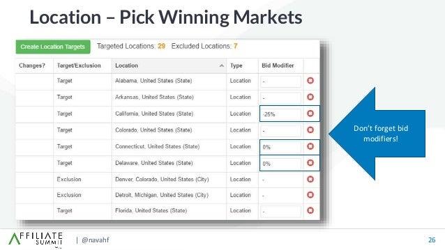 | @navahf 26 Location – Pick Winning Markets Don't forget bid modifiers!