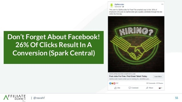 | @navahf 55 Don't Forget About Facebook! 26% Of Clicks Result In A Conversion (Spark Central)
