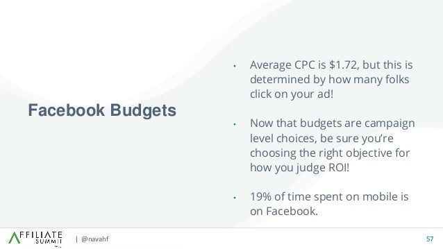 | @navahf 57 • Average CPC is $1.72, but this is determined by how many folks click on your ad! • Now that budgets are cam...