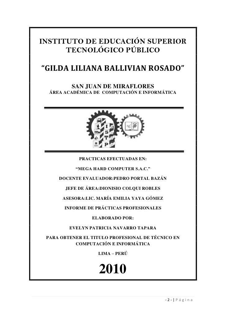 """INSTITUTO DE EDUCACIÓN SUPERIOR TECNOLÓGICO PÚBLICO<br />""""GILDA LILIANA BALLIVIAN ROSADO""""<br />SAN JUAN DE MIRAFLORES<br /..."""