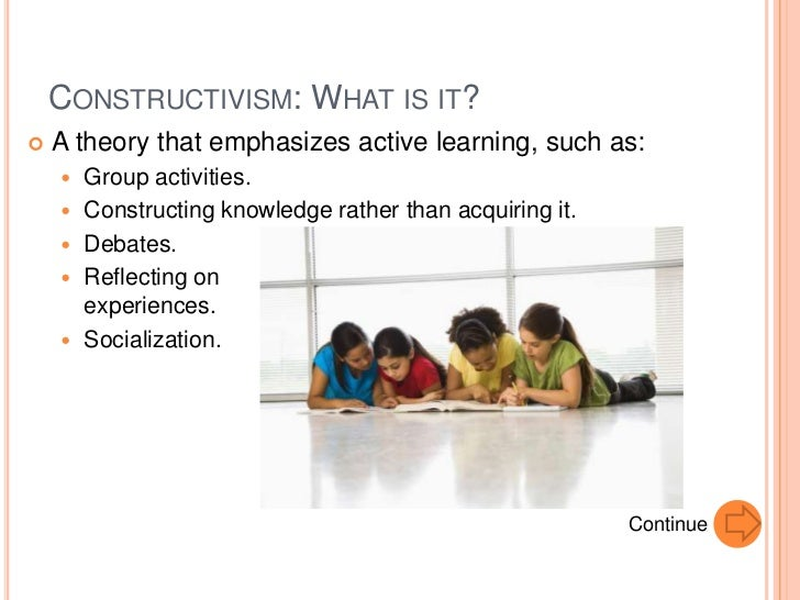 the relevance of the constructivist theory 2 years ago • constructivist theories, paradigms and perspectives • 0 constructivism as a paradigm or worldview posits that learning is an active, constructive process the learner is an information constructor.