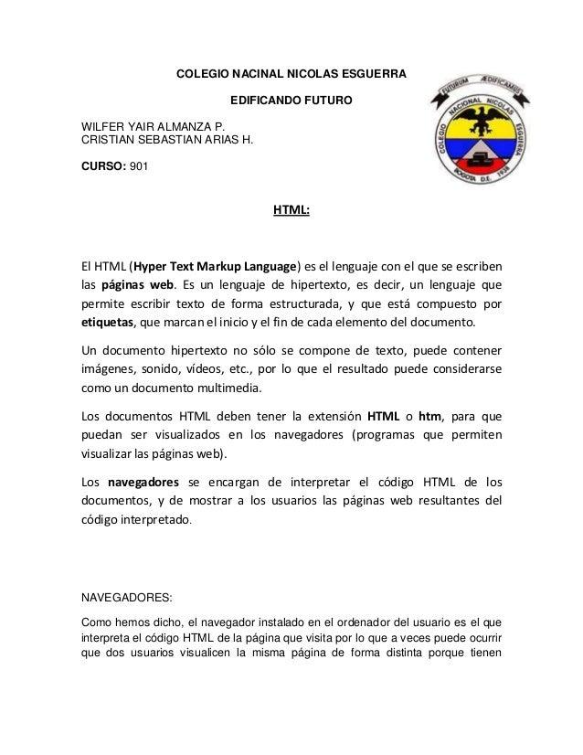 COLEGIO NACINAL NICOLAS ESGUERRA                             EDIFICANDO FUTUROWILFER YAIR ALMANZA P.CRISTIAN SEBASTIAN ARI...