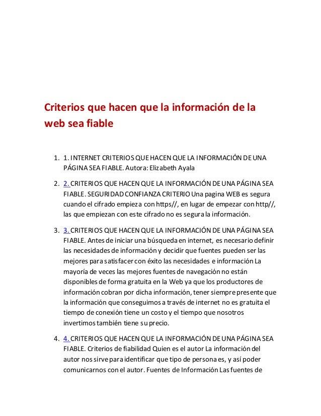 Criterios que hacen que la información de la web sea fiable 1. 1. INTERNET CRITERIOS QUEHACENQUE LA INFORMACIÓNDEUNA PÁGIN...