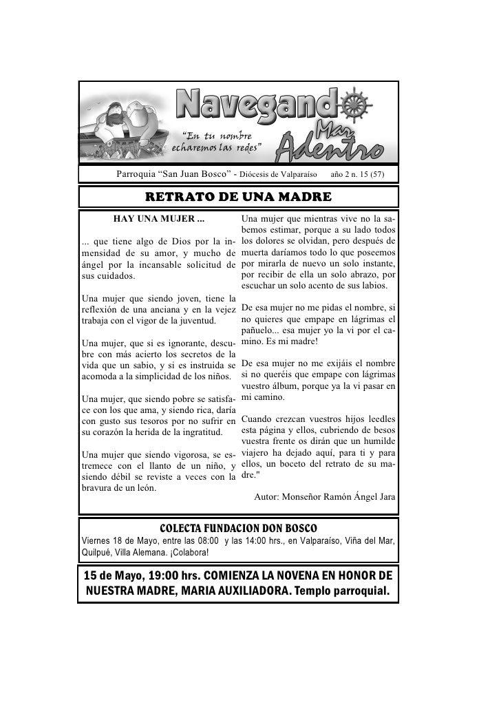 """Parroquia """"San Juan Bosco"""" - Diócesis de Valparaíso     año 2 n. 15 (57)                RETRATO DE UNA MADRE        HAY UN..."""