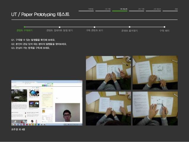 UT / Paper Prototyping 테스트  기획의도 1차 기획 1차 테스트 2차 기획 2차 테스트 최종  콘텐츠 구독하기 콘텐츠 업데이트 알림 받기 구독 콘텐츠 보기 콘텐츠 즐겨찾기 구독 해지  Q1. 구독할 수...