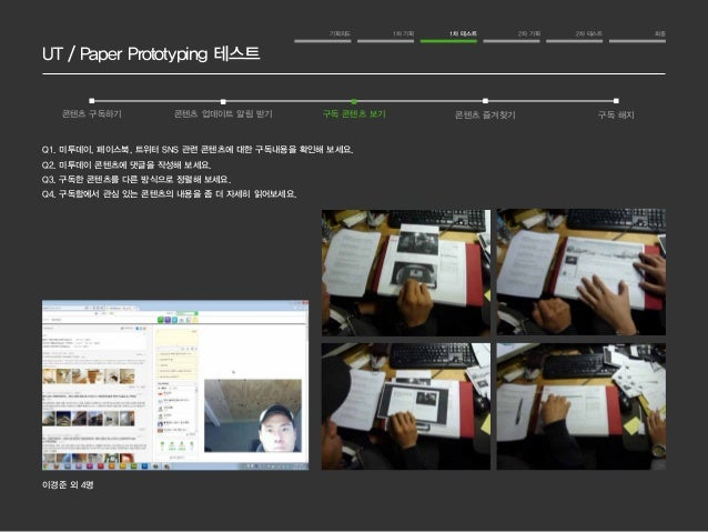 UT / Paper Prototyping 테스트  기획의도 1차 기획 1차 테스트 2차 기획 2차 테스트 최종  콘텐츠 구독하기 콘텐츠 업데이트 알림 받기 구독 콘텐츠 보기 콘텐츠 즐겨찾기 구독 해지  Q1. 미투데이,...