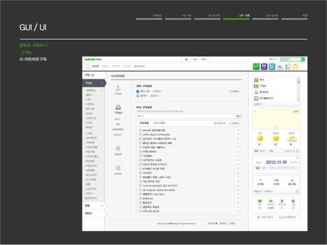 GUI / UI  기획의도 1차 기획 1차 테스트 2차 기획 2차 테스트 최종  콘텐츠 구독하기  _구독+  4) RSS바로구독
