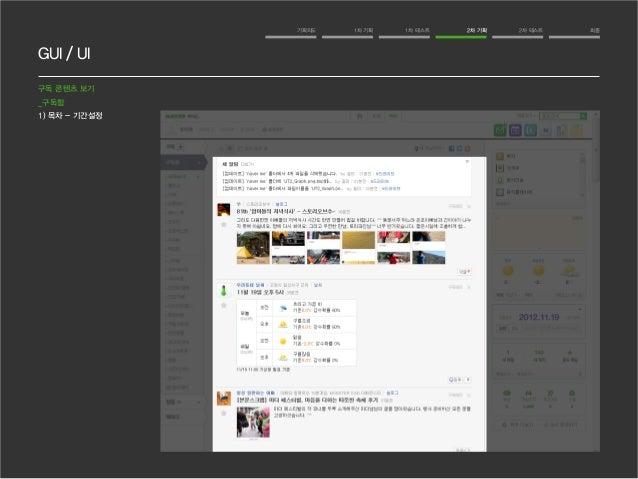 GUI / UI  기획의도 1차 기획 1차 테스트 2차 기획 2차 테스트 최종  구독 콘텐츠 보기  _구독함  1) 목차 - 기간설정